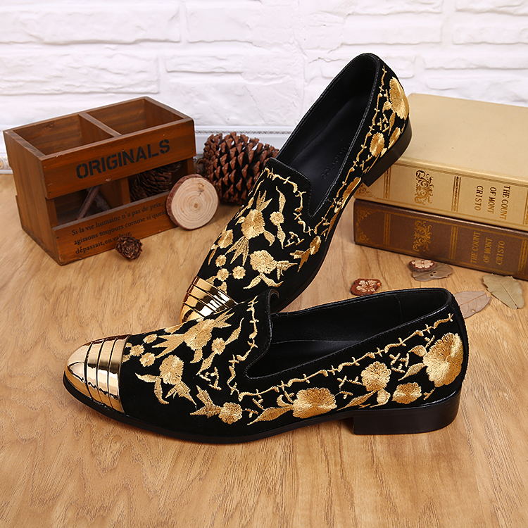 Black Suede Gold Embroidery Loafers
